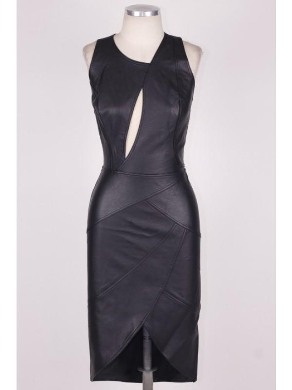 Vestido Dress & Go Couro Preto