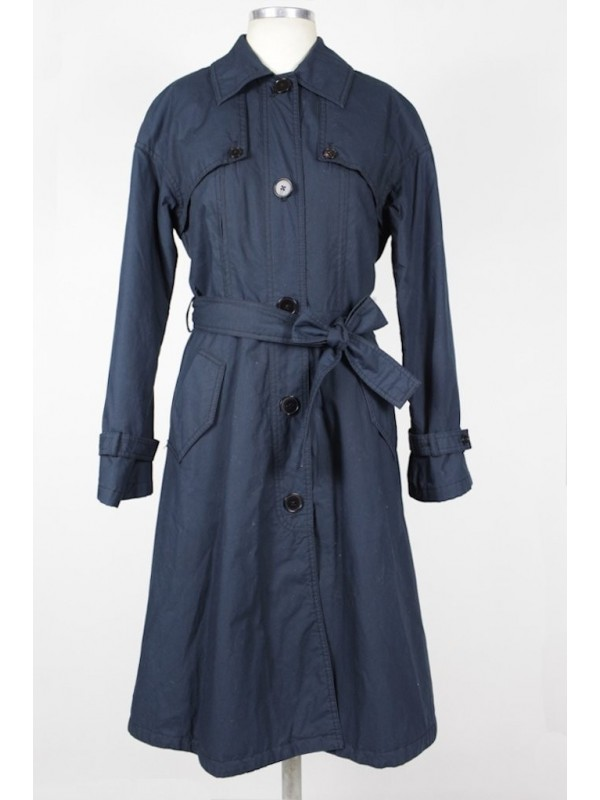 Trench Coat Armani Algodão Azul Marinho