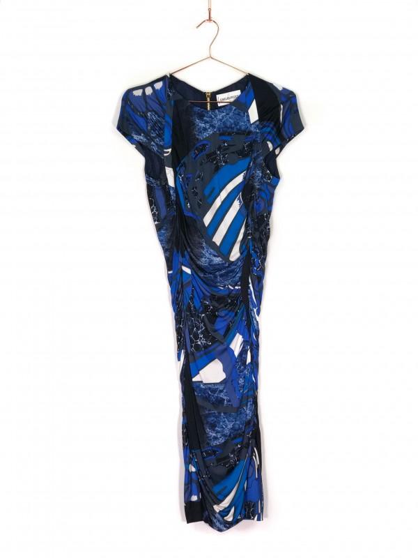 Vestido Midi Regata Emillio Pucci Azul Estampa Orgânica