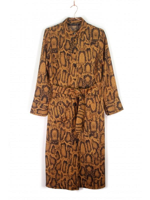 Vestido Camisa Zara Animal Print Mostarda