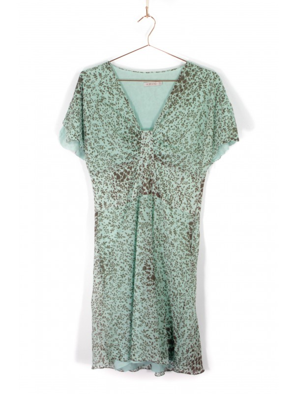 Vestido Curto A. Brand Drapeado Verde Estampa Floral