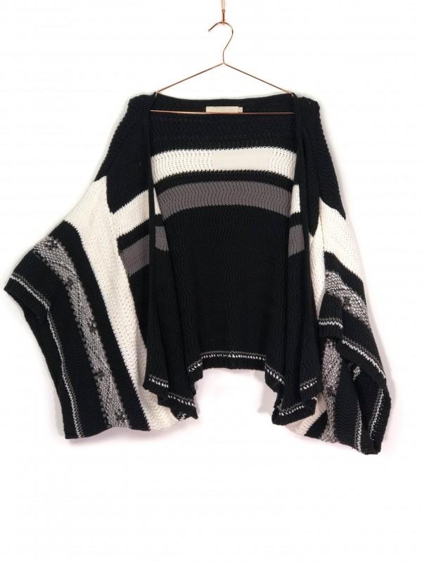 Kimono Cris Barros Tricot Listrado Preto e Branco