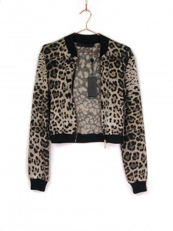 Bomber Jacket Alice Capella Animal Print Bege