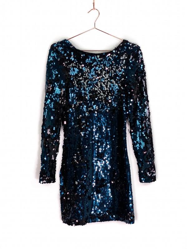 Vestido Curto Zara Paetê Azul