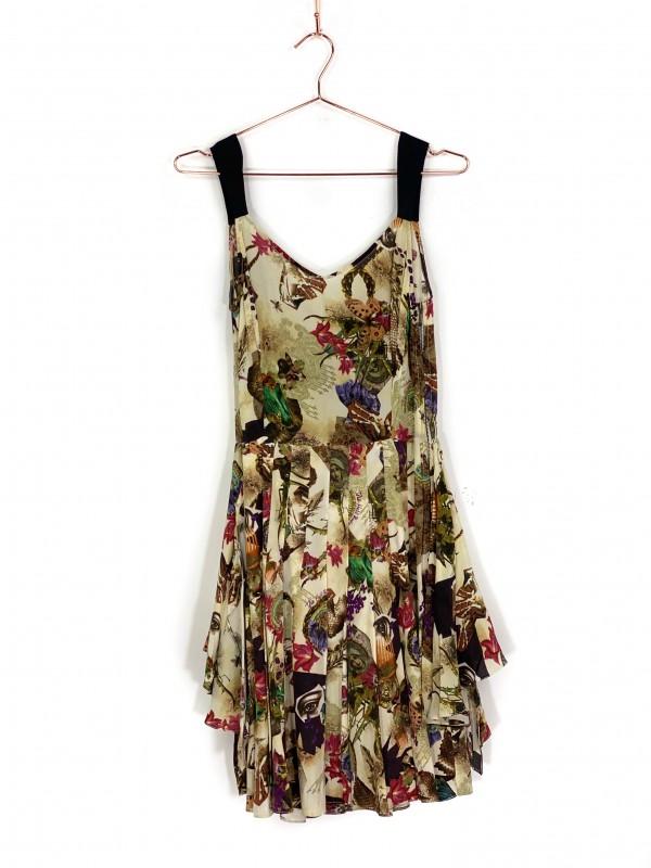 Vestido Curto Têca/Helô Rocha de Alça Estampado Colorido