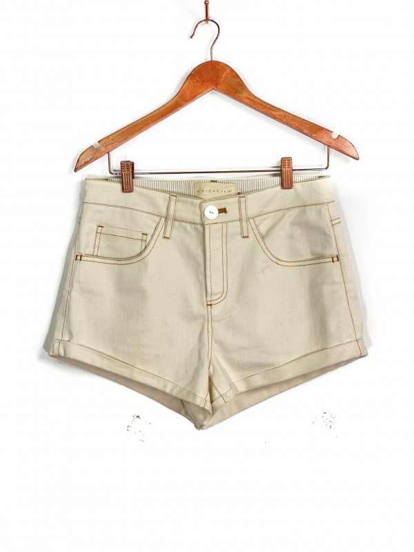Short Animale Jeans Cintura Alta Off-white