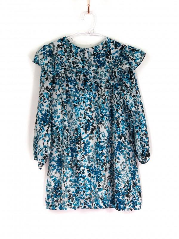 Vestido Infantil Rose&Bleu Estampa Floral Tons de Azul
