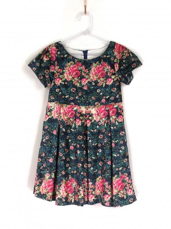 Vestido Infantil Drapeado Estampa Floral Colorida