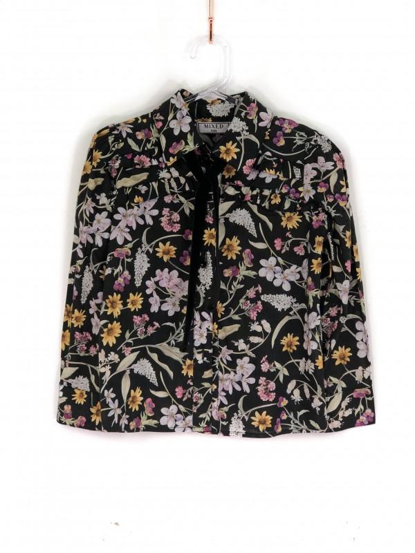 Camisa Infantil Mixed Estampa Floral Preta