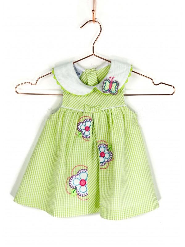Vestido Infantil Samara Regat Xadrez Verde e Branco