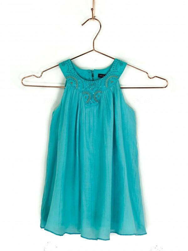 Vestido Infantil BabyGap Regata Drapeado Verde Água