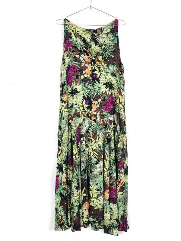 Vestido Longo Paula Marques Regata Estampa Floral