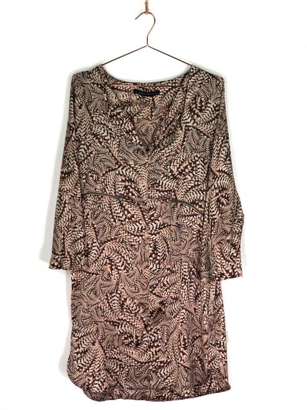 Vestido Midi Zara Animal Print Marrom