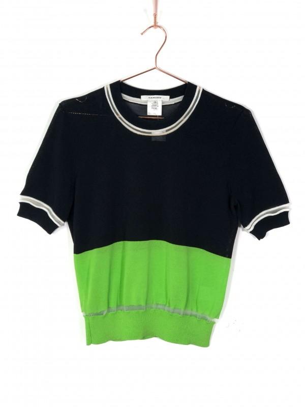 Blusa Carven Malha Preta e Verde
