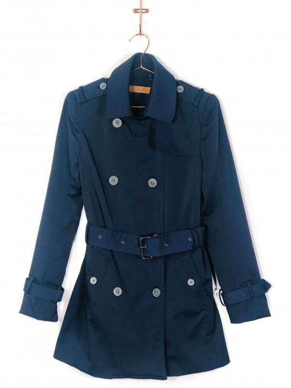 Trench Coat Curto Amaro Azul Marinho