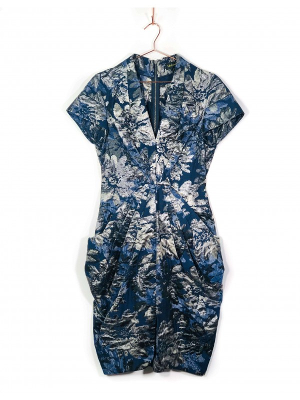 Vestido Midi Malandrino Metalizado Estampa Orgânica Azul