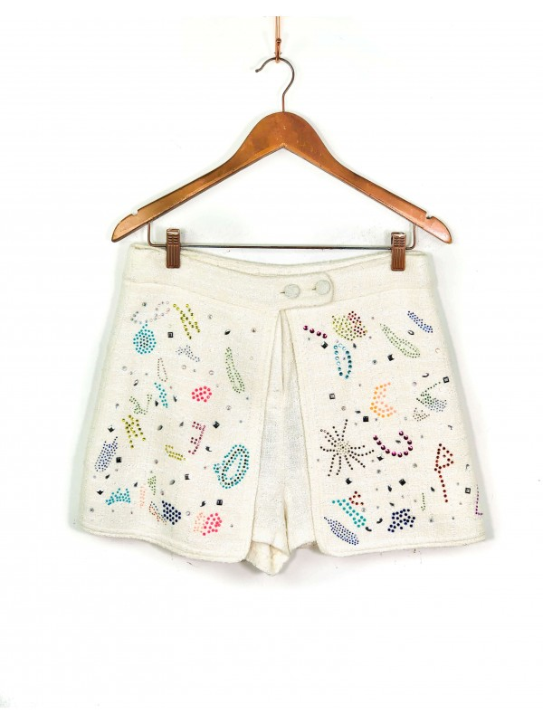 Short Saia Love Deeply Tweed Off-white