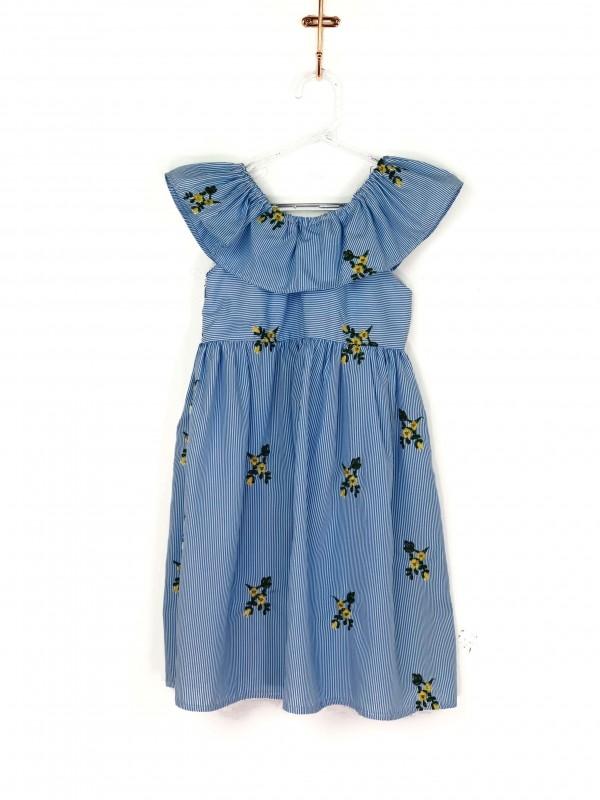 Vestido Infantil Pink and Blue Listrado Azul e Branco