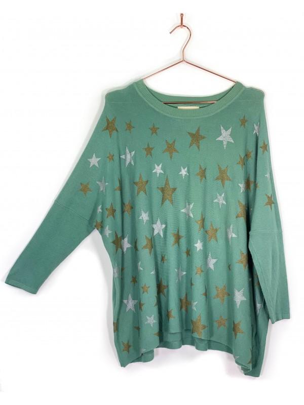 Suéter Chez Nous Verde Musgo Estampado
