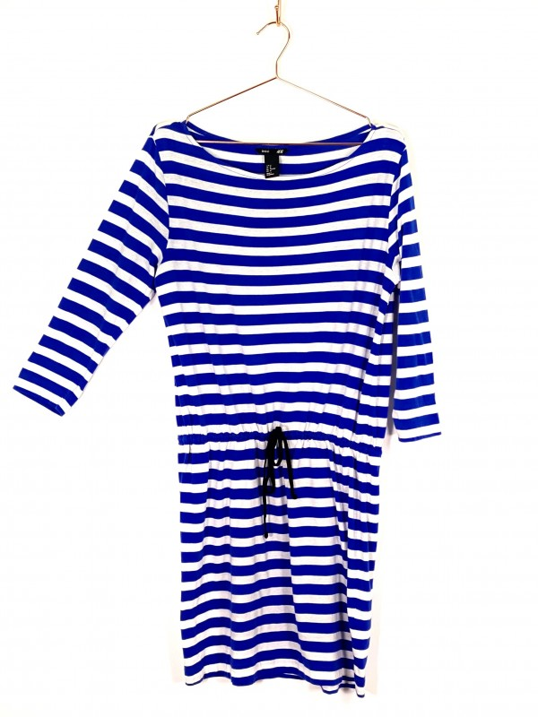 Vestido Curto H&M Listrado Azul e Branco