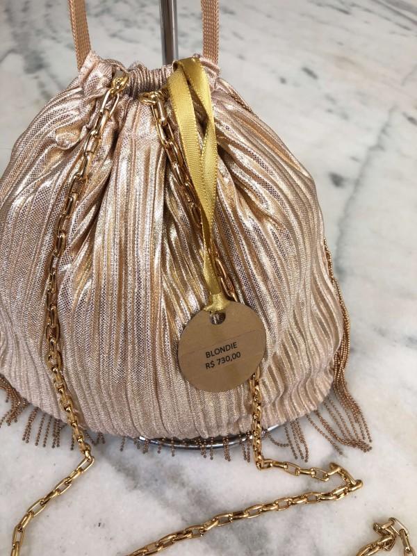 Bolsa Clutch Sophia Lurex Dourada