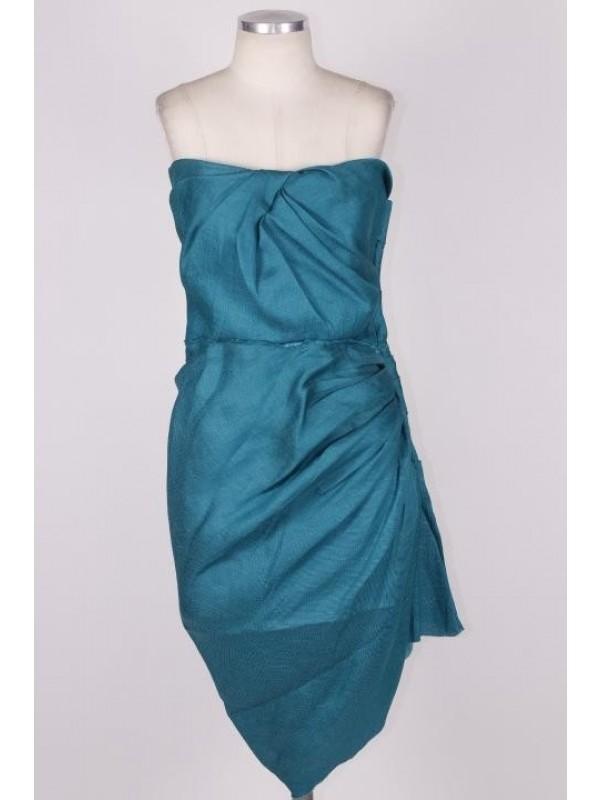Vestido Lanvin Seda Verde Ciano