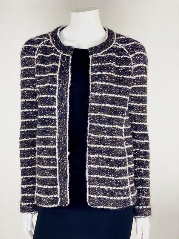Jaqueta tweed preta, azul marinho e branca Isabel Marant