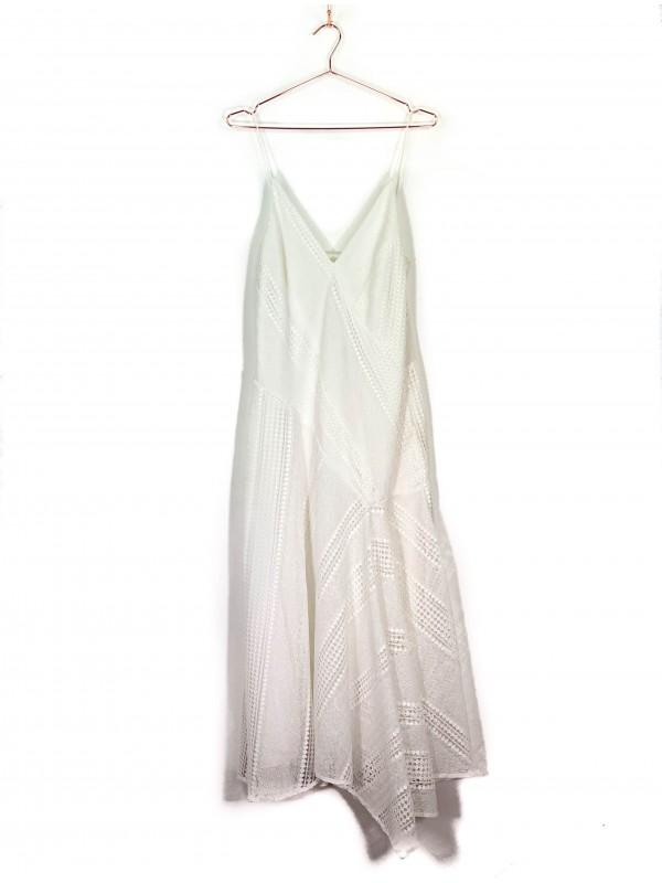 Vestido Le Lis Blanc Branco Evasê em Tela