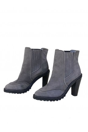 Ankle Boot Cris Barros Couro Cinza Chumbo