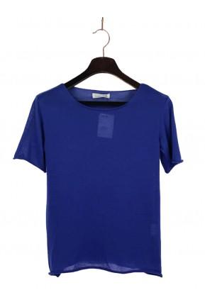 Camiseta Juliana Gevard Malha Azul Anil