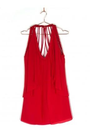 Vestido Curto Daslu de Alças Vermelho