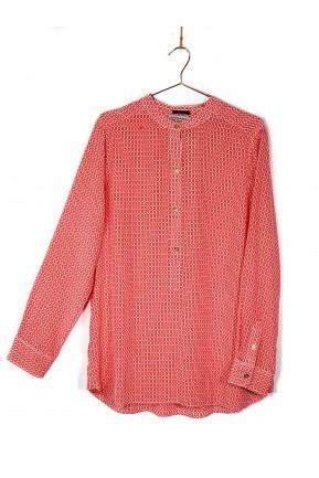 Camisa Claudeteedeca Estampa Geométrica Vermelha e Branca
