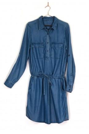 Vestido Zara Manga Longa Jeans