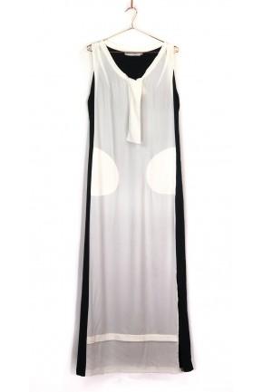 Vestido Longo Huis Clos Preto e Branco