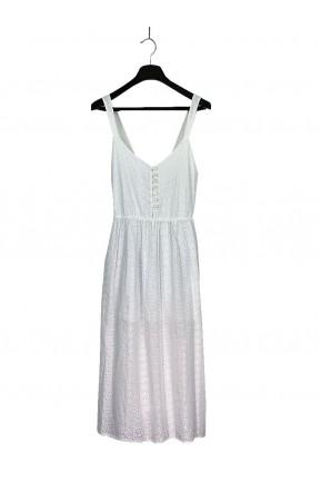 Vestido Midi Lado Basic Bordado Branco