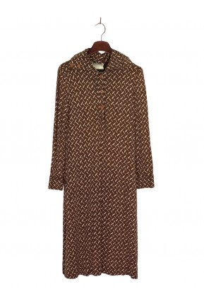 Vestido Vintage Diane Von Furstenberg Estampado Marrom