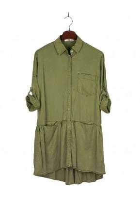 Vestido Chemise Zara Verde Musgo